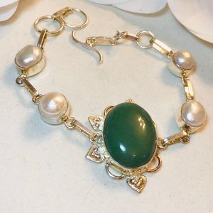 Jewelry - Sterling Silver925 Aventurine And Pearls Bracelet